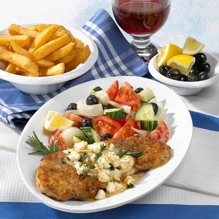 Athen Spezial (Griechisches Schnitzel mit Schafskäse überbacken) Rezept