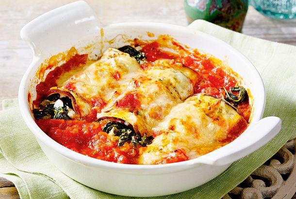 Auberginen-Cannelloni mit Spinatfüllung