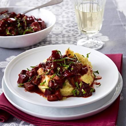 Auberginen-Rote-Bete-Ragout mit Polenta Rezept