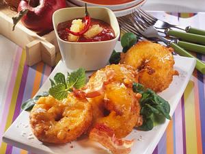 Ausgebackene Apfelringe mit Ananas-Salsa Rezept