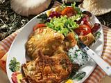 Austernpilz-Schnitzel mit Salat & Dip Rezept
