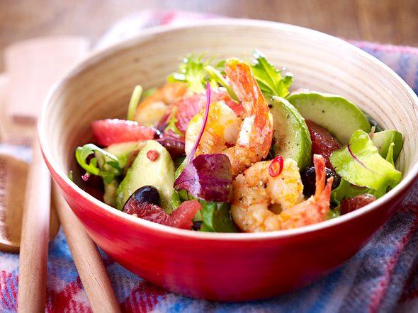 Avocado-Grapefruit-Salat mit Knoblauchgarnelen Rezept