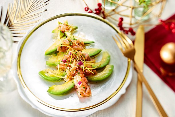 Avocad-O-Tannenbaum mit Räucherlachs-Tartar Rezept