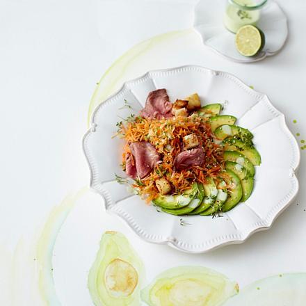 Avocado-Roastbeef-Salat mit Wasabidressing Rezept
