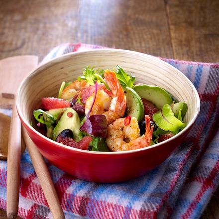 Avocado-Salat mit Grapefruit und Garnelen Rezept