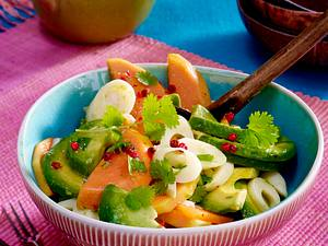 Avocadosalat mit Palmherzen, Papaya und Koriander Rezept