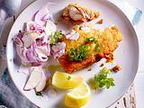 Backfisch mit Hausfrauensoße mit Salzkartoffeln Rezept