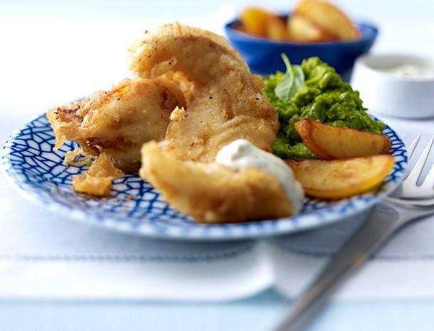 Backfisch mit Minz-Erbsenpüree Rezept