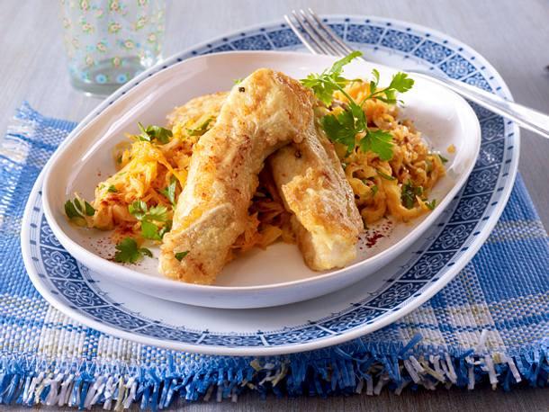 Backfisch mit Sahnesauerkraut Rezept