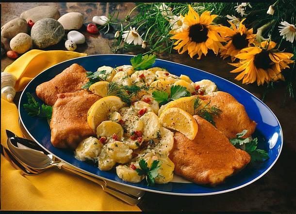 Backfisch mit Specksalat Rezept