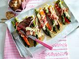 Bacon-Gemüse-Bundles zu Rumpsteak Rezept