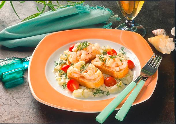 Baguette-Scheiben mit Shrimps Rezept