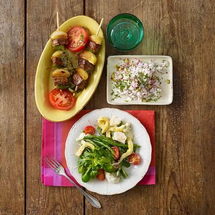 Balkanspieß mit Paprika, Rindersteak und Tomate Rezept