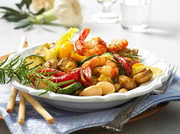 Balsamico-Gemüse mit Garnelen Rezept