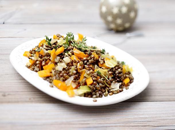 Balsamico-Linsen mit Gemüsewürfeln Rezept