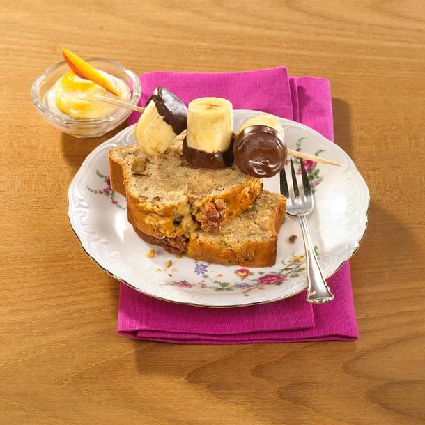 Bananen-Sandkuchen mit Mango-Ricottacreme Rezept