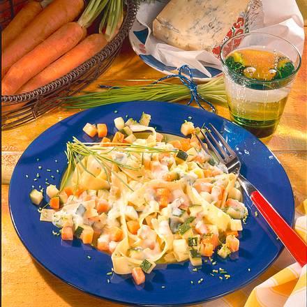 Bandnudeln mit Möhren-Zucchini-Soße Rezept