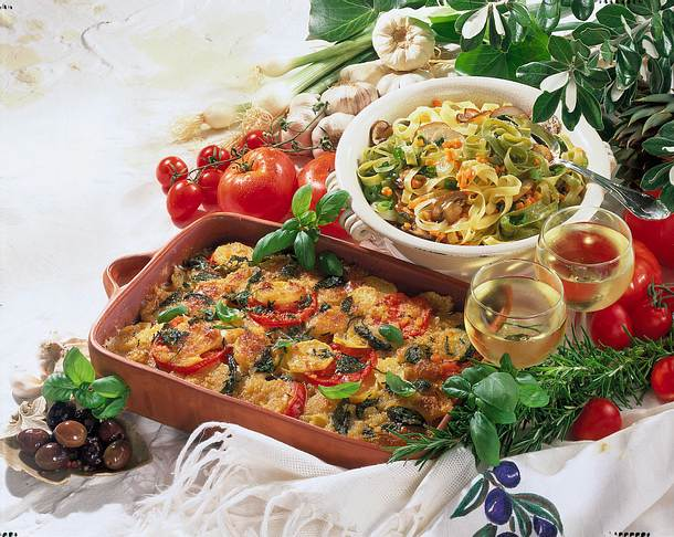 Bandnudeln mit Pilz-Gemüse Rezept