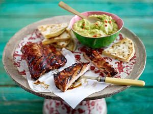 Barbecue Spare Ribs mit Guacamole und Käse-Quesadilla Rezept
