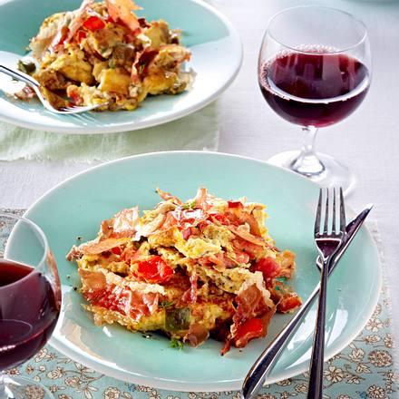 Baskisches Tomaten-Rührei mit knusprigem Schinken Rezept