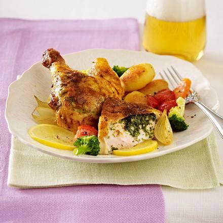 Bauernhuhn mit Zitronen-Bärlauch-Butter Rezept