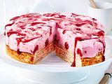 Baumkuchentorte mit Himbeer-Frischkäse-Creme Rezept