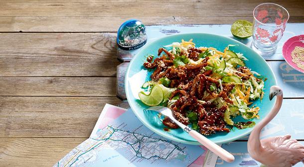 BBQ-Hähnchenstreifen auf Salat ( Chicken Stir Fry) Rezept
