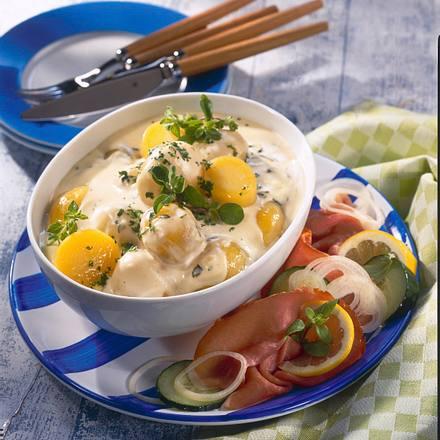 Bechamel-Kartoffeln mit Katenschinken Rezept
