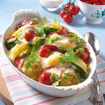 Béchamel-Kartoffeln mit Schinken Rezept