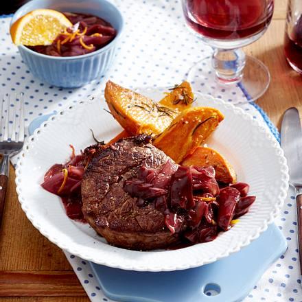 Beefsteaks mit Orangen-Rotwein-Schalotten Rezept