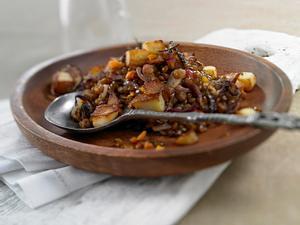 Berglinsen mit Kartoffelcroûtons Rezept