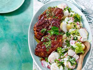 Bierkutscher Steaks zu Kartoffelsalat Rezept