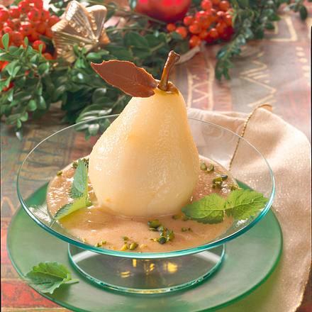 Birnen auf Zimt-Zabaione Rezept