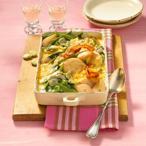 Birnen-Bohnen-Hähnchen-Auflauf in Gorgonzolasoße Rezept