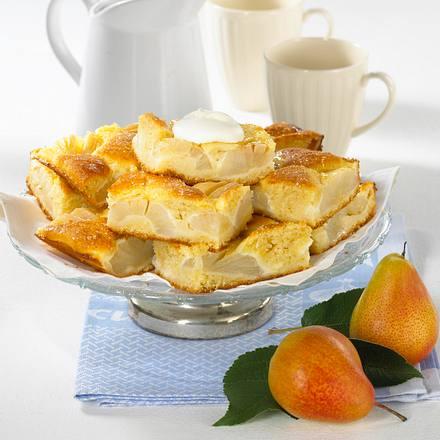 Birnen-Dinkelkuchen mit Schmandguss Rezept