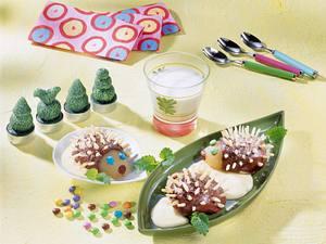Birnen-Igel auf Vanille-Soße Rezept