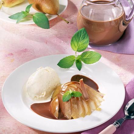 Birnen mit Schokosahne und Eis Rezept