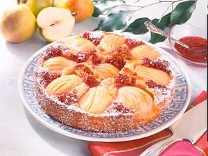 Birnenkuchen mit Johannisbeerkonfitüre Rezept