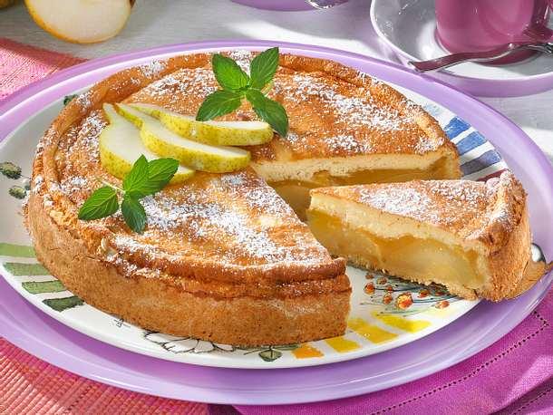 Birnenkuchen mit Pudding-Guss Rezept