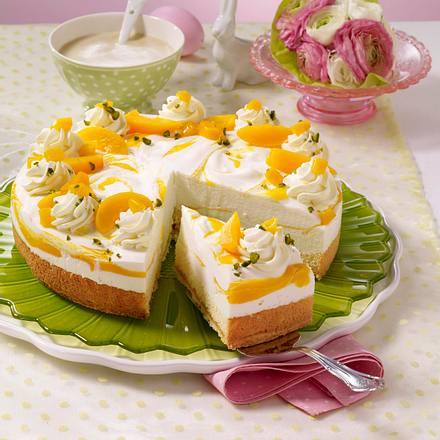 Biskuit-Torte mit Mango-Pfirsich-Creme Rezept