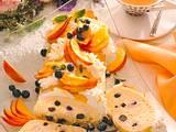 Biskuitrolle mit Pfirsich-Heidelbeersahne Rezept
