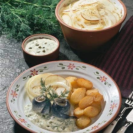 Bismarckheringe mit Dill-Kapern-Soße Rezept