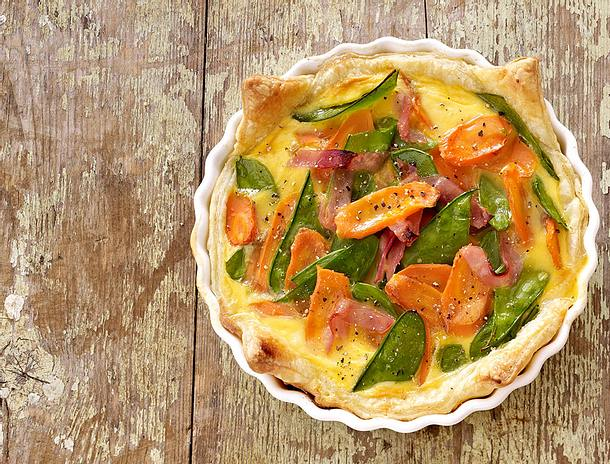 Blätterteig-Quiche mit Gemüse & Schinken Rezept