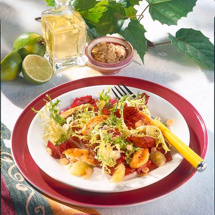 Blattsalat mit Putenstreifen Rezept