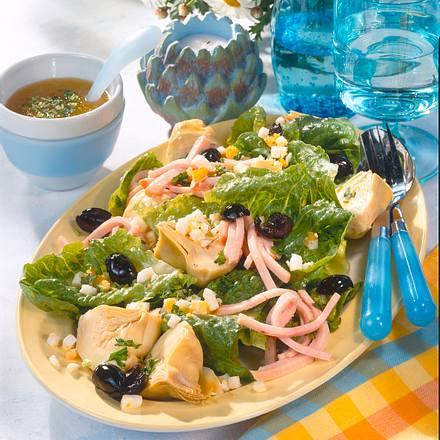 artischocken salat mit pute ei rezept chefkoch rezepte auf kochen backen und. Black Bedroom Furniture Sets. Home Design Ideas