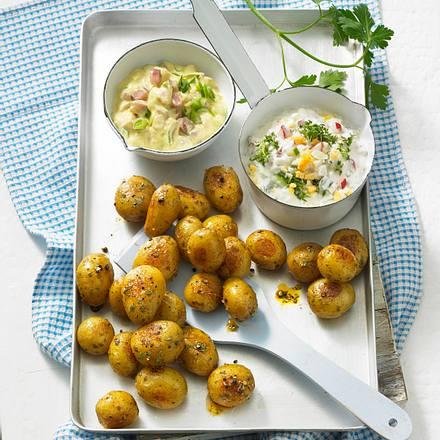 Blechkartoffeln mit Matjes-und Gemüse-Joghurt-Soße Rezept