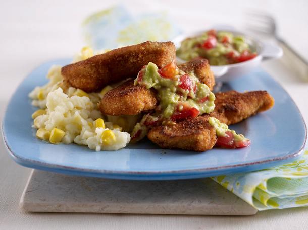 Blitz-Paprika-Putensticks mit Mais-Kartoffelpüree Guacamole Rezept