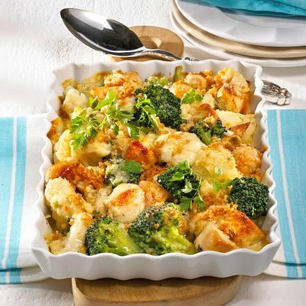 Blumenkohl-Broccoli-Auflauf mit Hähnchen Rezept