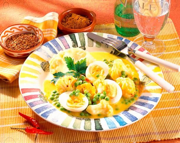 Blumenkohl-Curry mit Eiern & Püree Rezept