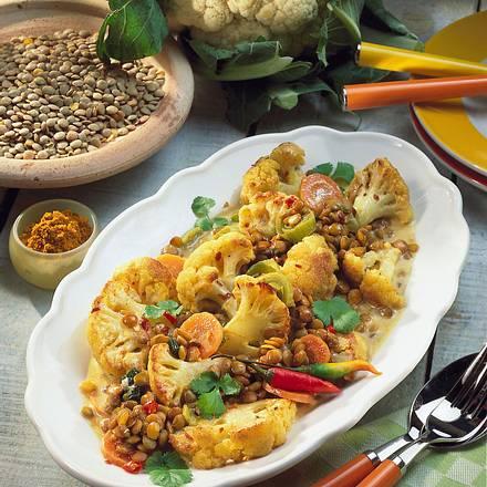 Blumenkohl-Curry mit Linsen Rezept